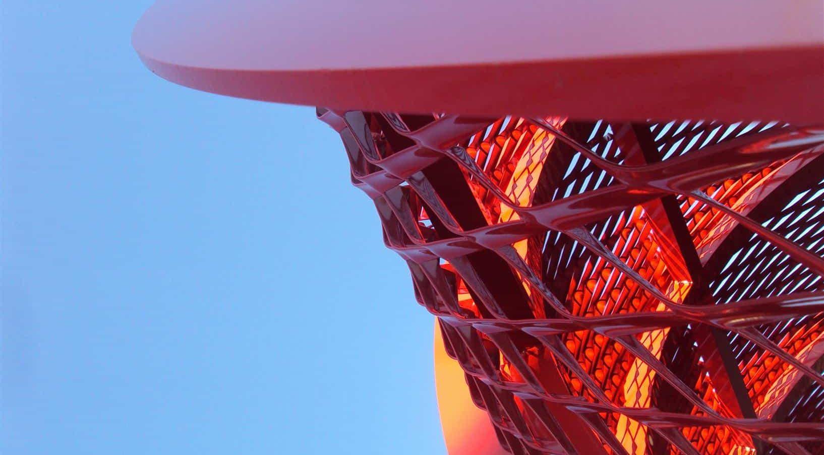 Rood gepoedercoat MD Strekmetaal van het torentje bij de Brandweerpost in Alblasserdam