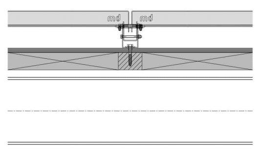 Detailtekening van het blinde bevestigingssysteem DER111 voor gevelbekleding met MD Designperforatie