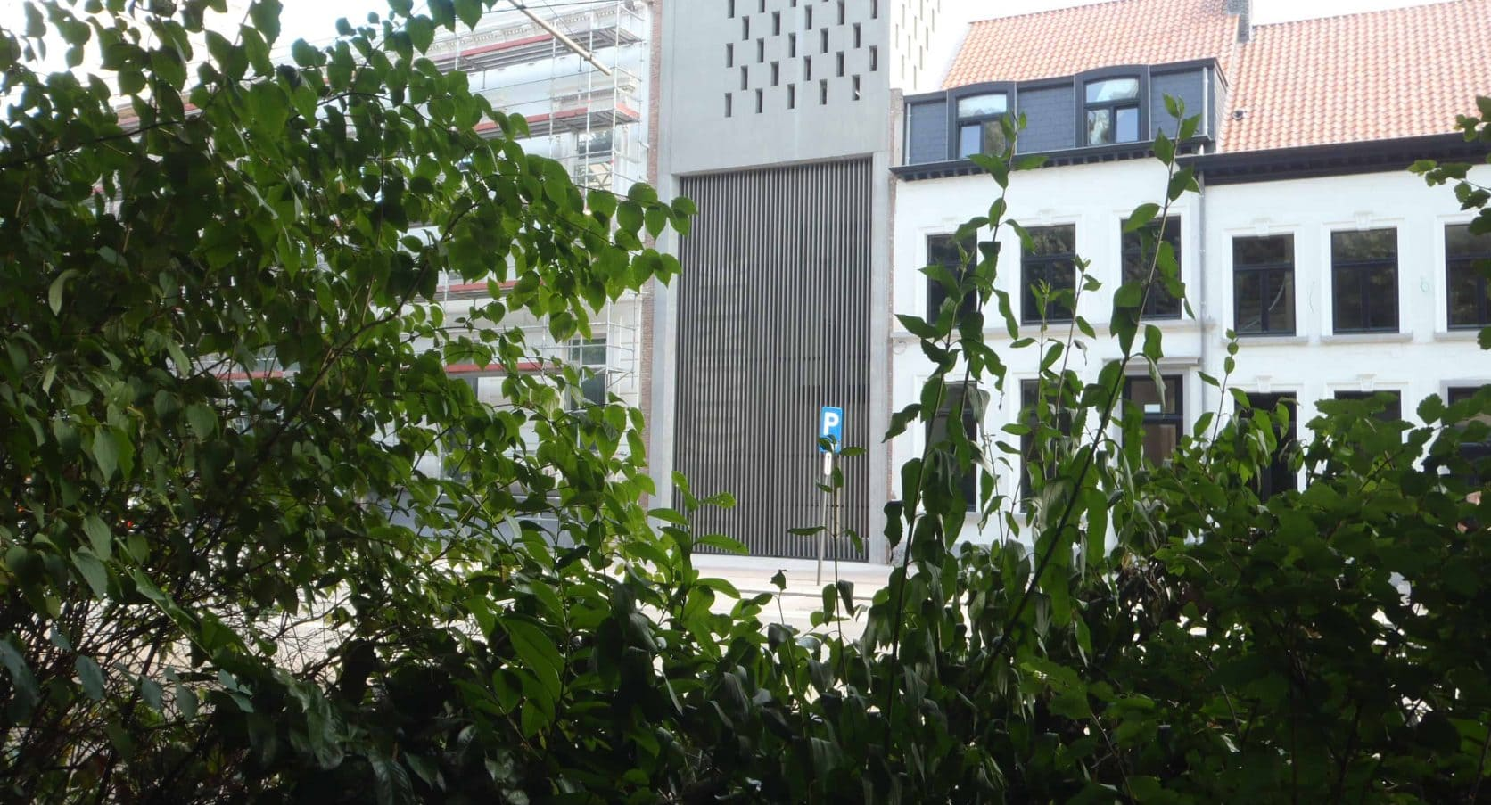 MD Designperforatie, geperforeerd stalen, toegangspoort voor de Brouwerij De Koninck in Antwerpen te België
