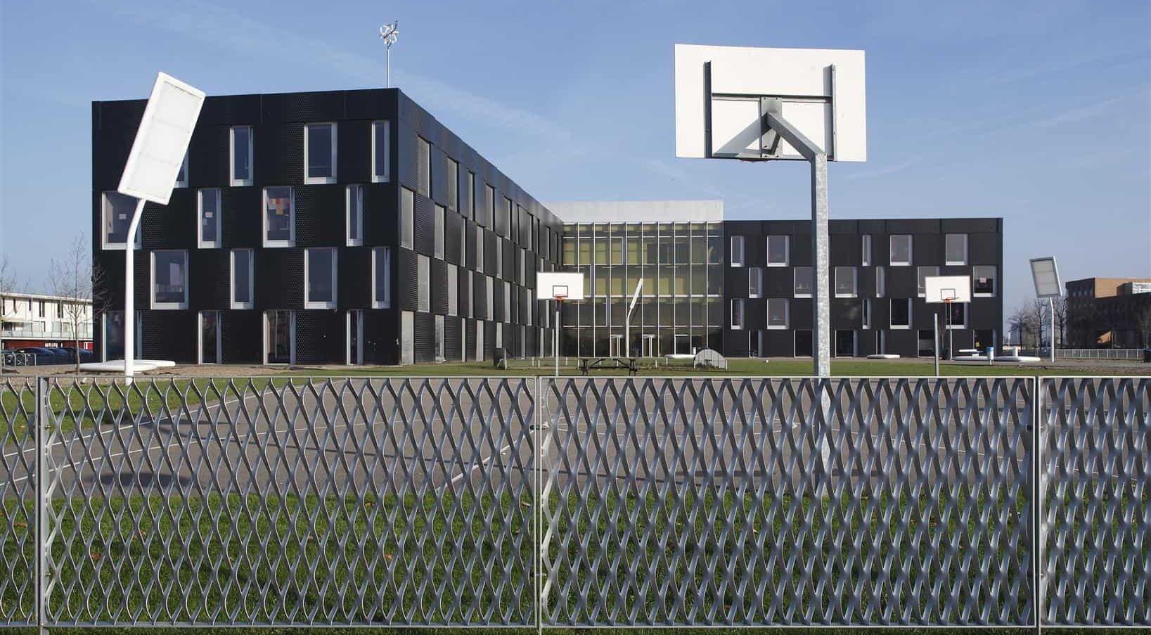 Detail van de MD Strekmetaal panelen van de Sportcampus Leidsche Rijn in Utrecht