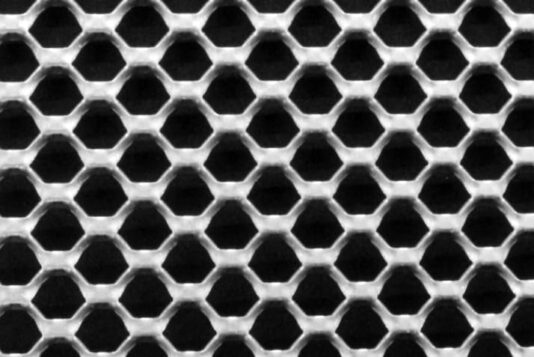 Voorbeeld MD Strekmetaal van aluminium gevelbekleding type MD Garza 00000203. Example MD Expanded metal of aluminum façade gladdig type MD Garza 00000203.