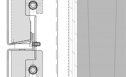 Detailtekening van het blinde bevestigingssysteem DER111 voor gevelpanelen van MD Designperforatie