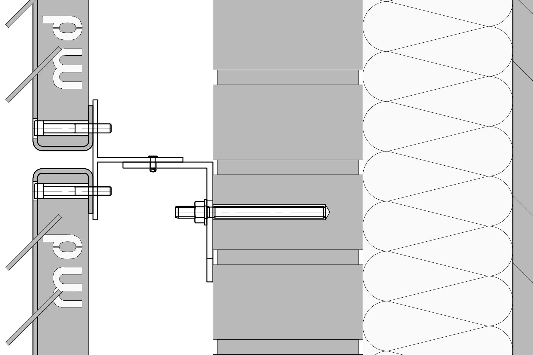 Verticaal detail van bevestigingssysteem MD FOR111 voor gevelpanelen van MD Formatura