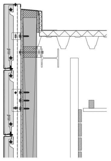 Verticale details van het blinde bevestigingssysteem DER111 voor gevelpanelen van MD Designperforatie