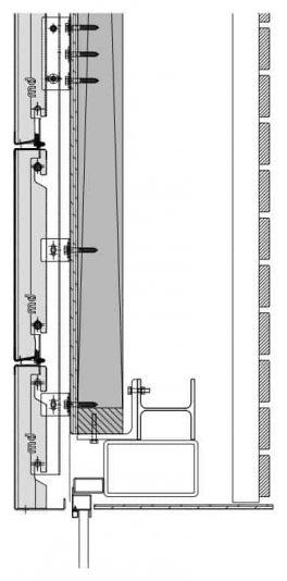 Verticaal detail van het blinde bevestigingssysteem DER111 voor gevelpanelen van MD Designperforatie