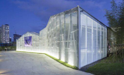 MD Strekmetaal gevelbekleding met LED verlichting in Busan Zuid-Korea