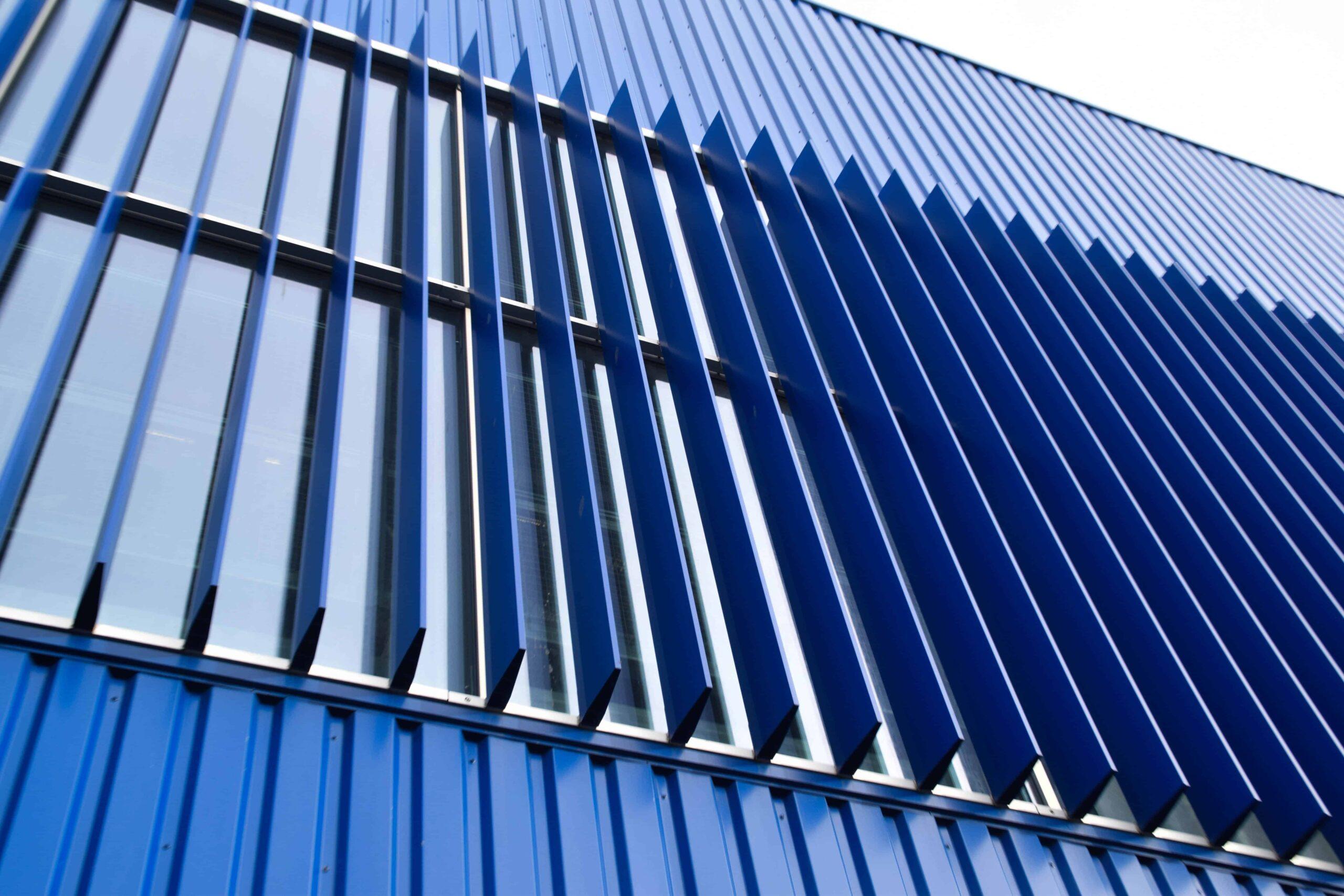 Close-up van de MD Lamel gevelbekleding van de Ikea in Utrecht