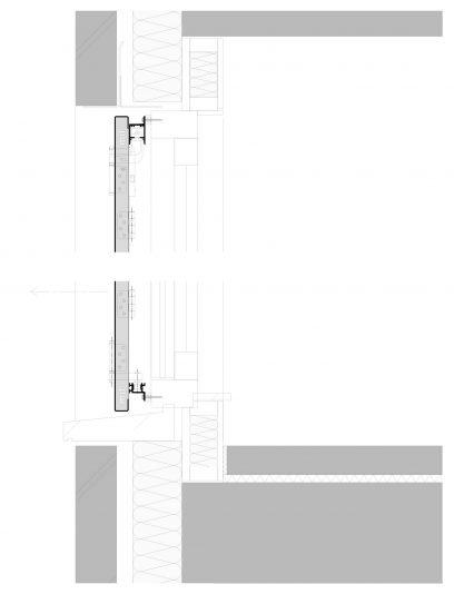Detailtekening van het bewegende bevestigingssysteem DEA112 voor gevelpanelen van MD Designperforatie