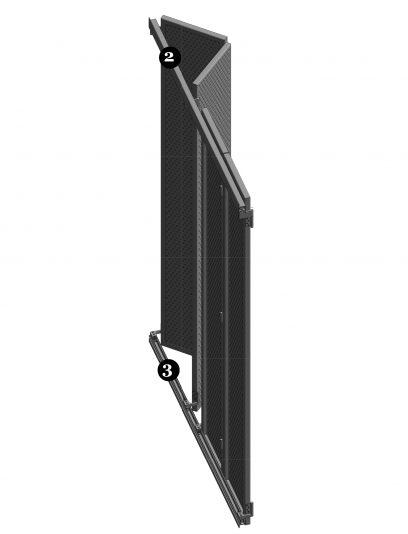 Achteraanzicht van het bewegend bevestigingssysteem DEA112 voor gevelpanelen van MD Designperforatie