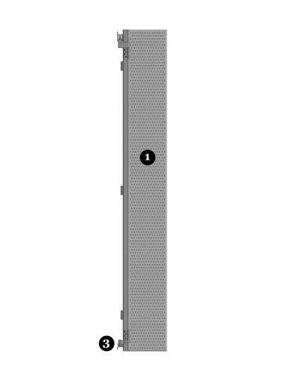 Detail van de scharnieren van het bewegende bevestigingssysteem DEA112 voor gevelpanelen van MD Designperforatie