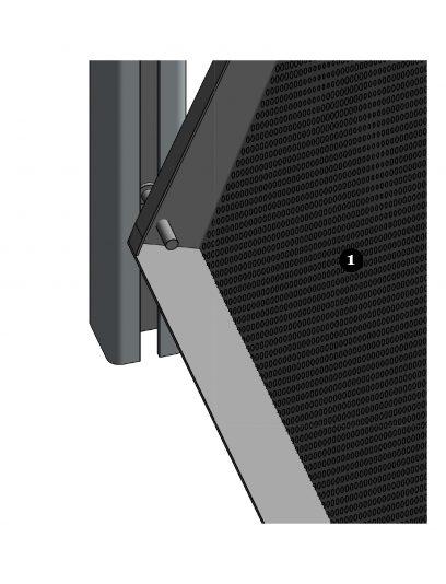 Detail van de bewegende bevestiging DEA113 voor gevelbekleding met MD Designperforatie