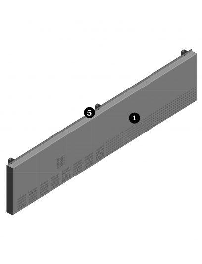 Vooraanzicht van het blinde bevestigingssysteem DER111 voor gevelpanelen van MD Designperforatie