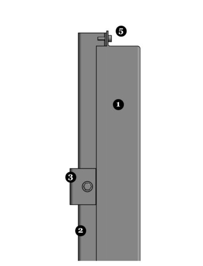 Zijaanzicht van het blinde bevestigingssysteem DER111 voor gevelbekleding met MD Designperforatie