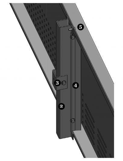 Achterzijde van het blinde bevestigingssysteem DER111 voor gevelpanelen van MD Designperforatie