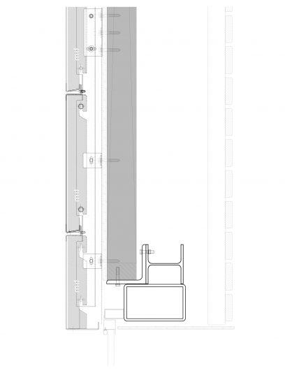 Detailering van het blinde bevestigingssysteem DER111 voor gevelpanelen van MD Designperforatie