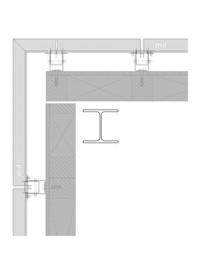 Details van het blinde bevestigingssysteem DER111 voor gevelbekleding met MD Designperforatie