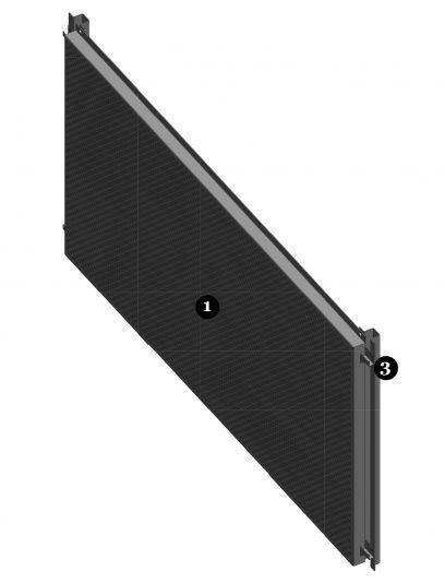 Vooraanzicht van het blinde bevestigingssysteem DER112 voor gevelpanelen van MD Designperforatie