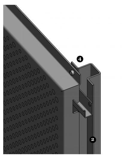 Hoekdetail van het blinde bevestigingssysteem DER112 voor gevelpanelen van MD Designperforatie