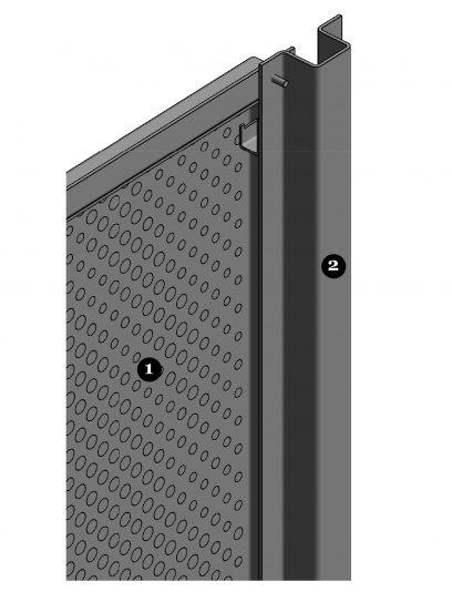 Detail van de achterzijde van het blinde bevestigingssysteem DER112 voor gevelbekleding met MD Designperforatie