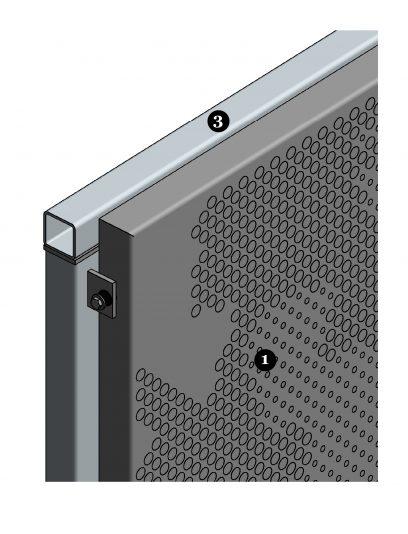 Detail van de hoek van het bevestigingssysteem DER113 voor gevelpanelen van MD Designperforatie