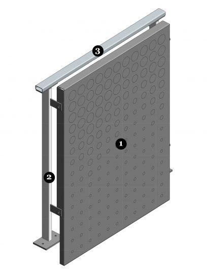 Vooraanzicht van het blinde bevestigingssysteem DER114 voor gevelbekleding met MD Designperforatie