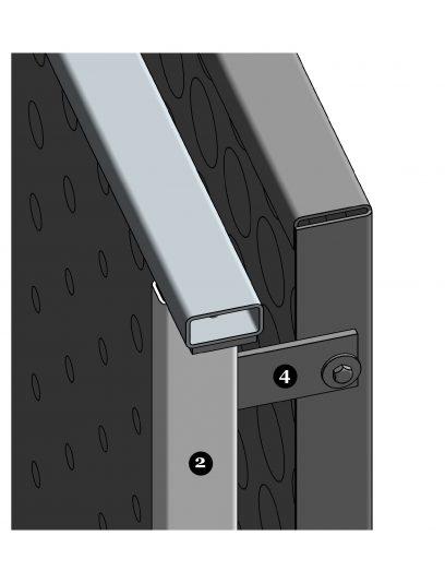 Extra hoekdetail van het blinde bevestigingssysteem DER114 voor gevelbekleding met MD Designperforatie