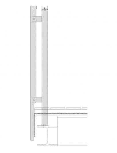 Zijaanzicht van het bevestigingssysteem DER114 voor gevelbekleding van MD Designperforatie