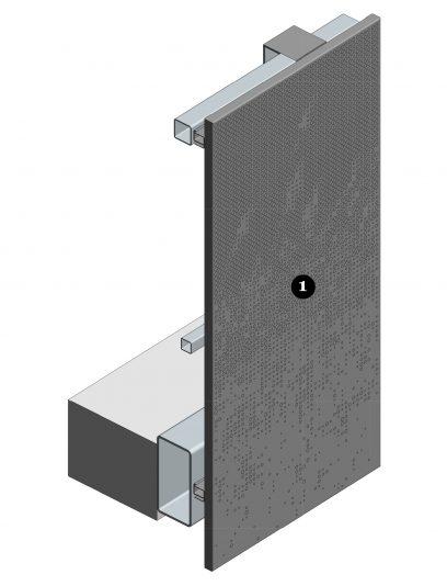 Voorzijde van het blinde bevestigingssysteem DER116 voor gevelpanelen van MD Designperforatie