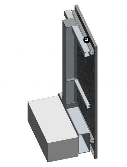 Achterzijde van het blinde bevestigingssysteem DER116 voor gevelpanelen van MD Designperforatie