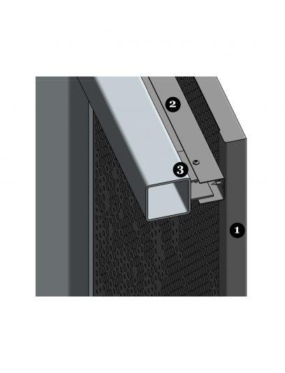 Achterzijde van het hoekdetail bevestigingssysteem DER116 voor gevelbekleding met MD Designperforatie