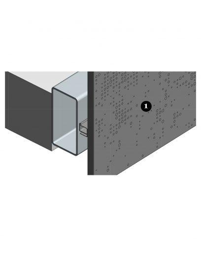 Hoekdetail van het blinde bevestigingssysteem DER116 voor gevelbekleding met MD Designperforatie