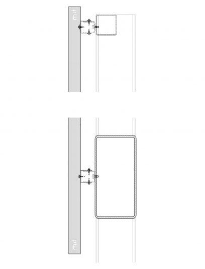 Detail van het blind bevestigingssysteem DER116 voor gevelbekleding van MD Designperforatie