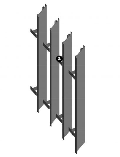 Achterkant van bevestigingssysteem LAR111 voor MD Lamel gevelbekleding