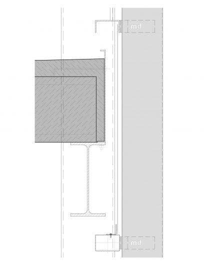 Detailtekening van bevestiging LAR111 voor MD Lamel gevelbekleding