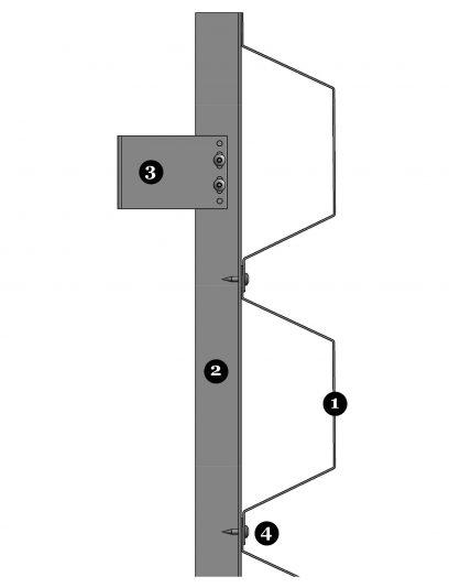 Detail van bevestiging SHV112 voor MD Shapes gevelbekleding