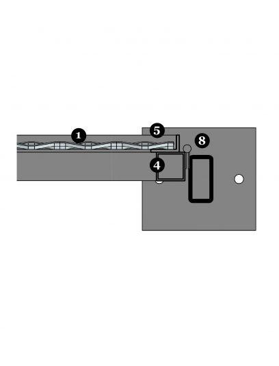 Voorbeeld detail MD Apertura STA111, een bevestigingssysteem voor MD Strekmetaal gevelbekleding