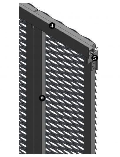 Detail van een MD Apertura STA112, een bevestigingssysteem voor MD Strekmetaal gevelbekleding