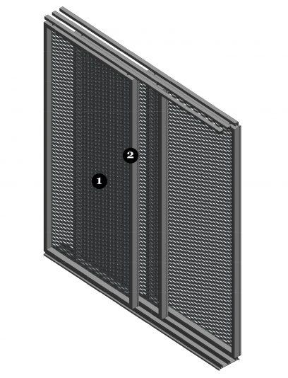 Detail van een MD Apertura, een bevestigingssysteem voor MD Strekmetaal gevelbekleding