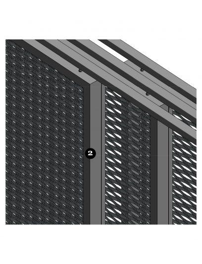 Voorbeeld van een detail MD Apertura, een bevestigingssysteem voor MD Strekmetaal gevelbekleding