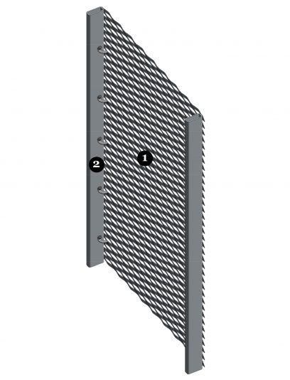 Voorbeeld detail MD Clips, een bevestigingssysteem voor MD Strekmetaal gevelbekleding