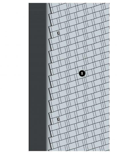 Voorbeeld van een details MD Clips STC111, een bevestigingssysteem voor MD Strekmetaal gevelbekleding