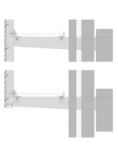 Voorbeelddetail MD Clips STC111, een bevestigingssysteem voor MD Strekmetaal gevelbekleding
