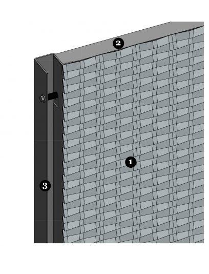 Voorbeeld detail van MD Resto STR111, een bevestigingssysteem voor MD Strekmetaal gevelbekleding