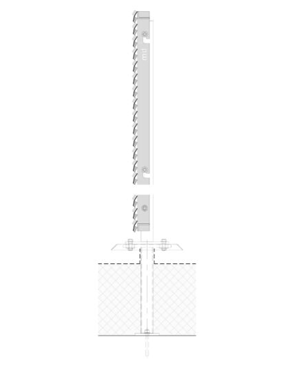 Voorbeeld detail MD Resto STR115, een bevestigingssysteem voor MD Strekmetaal gevelbekleding