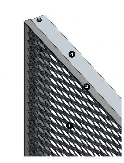 Voorbeelddetails van MD Resto STR117, een bevestigingssysteem voor MD Strekmetaal gevelbekleding