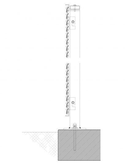 Voorbeeld detail MD Resto STR117, een bevestigingssysteem voor MD Strekmetaal gevelbekleding