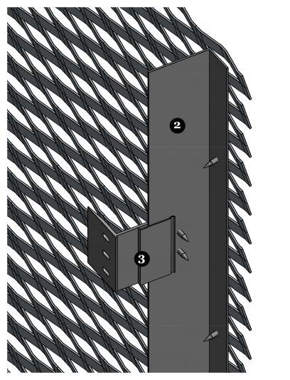 Detail van een MD Verti STV111, een bevestigingssysteem voor MD Strekmetaal gevelbekleding