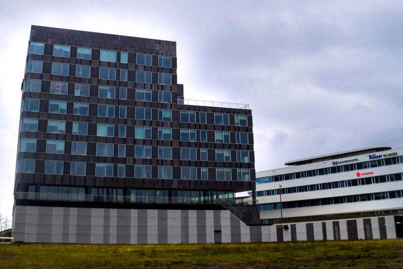 Vooraanzicht van de gevelbekleding van strekmetaal bij het kantoor van KPMG in Den Haag