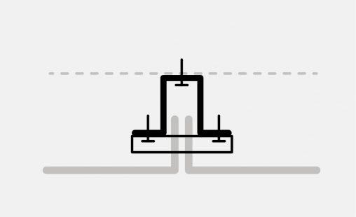 Pictogram van het blind bevestigingsysteem DER112 voor gevelbekleding met MD Designperforatie