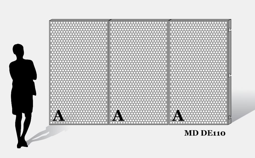 Een voorbeeld van MD Designperforatie MD DE110 met dezelfde perforatie op elk paneel weer